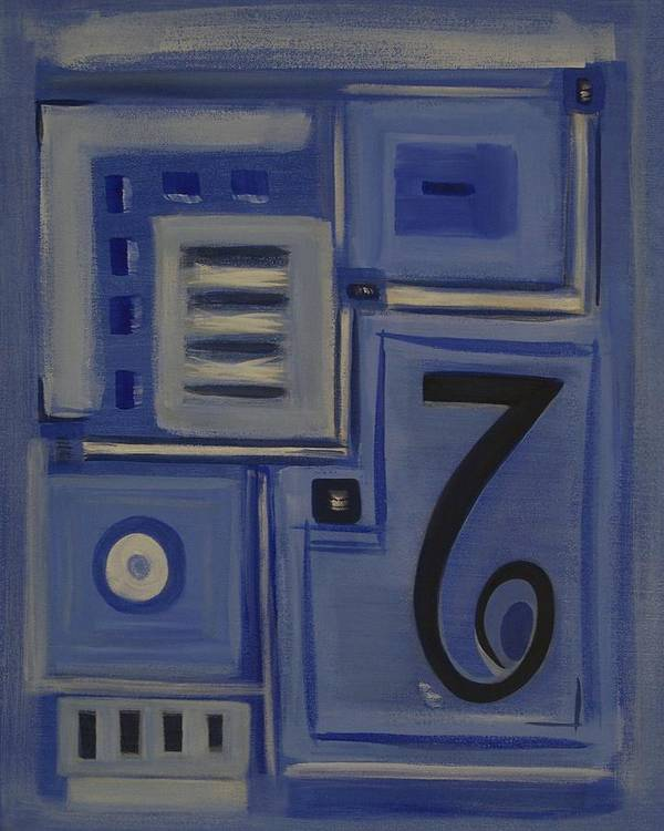Abstract Poster featuring the painting Details In Blue by Sandy Bostelman