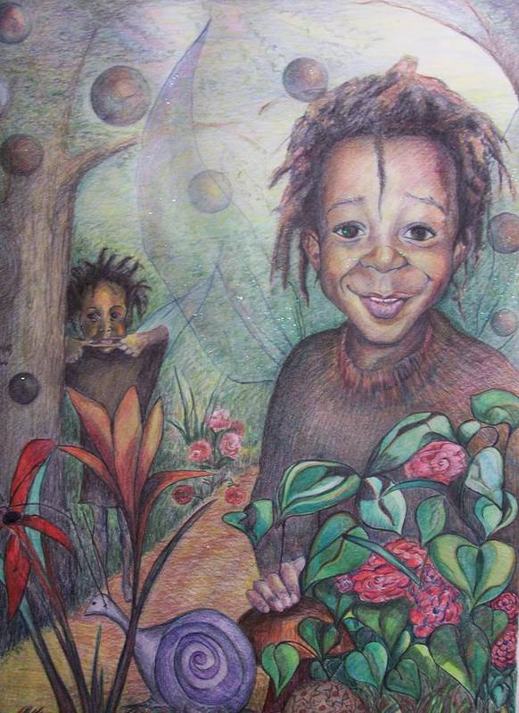 Portrait Poster featuring the drawing Deven's World by Joyce McEwen Crawford