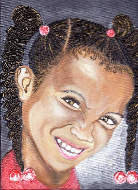 Smile Poster featuring the painting Devilish Grin by Keenya Woods