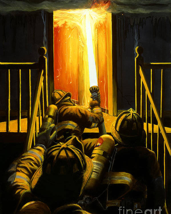 Firefighting Poster featuring the painting Devil's Stairway by Paul Walsh