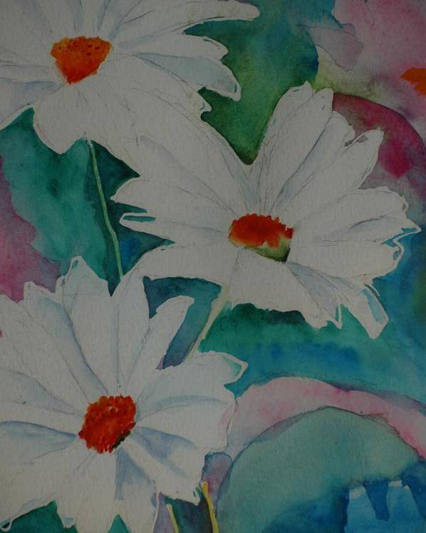 Daisies Poster featuring the painting Devin's Dasies by Melinda Etzold