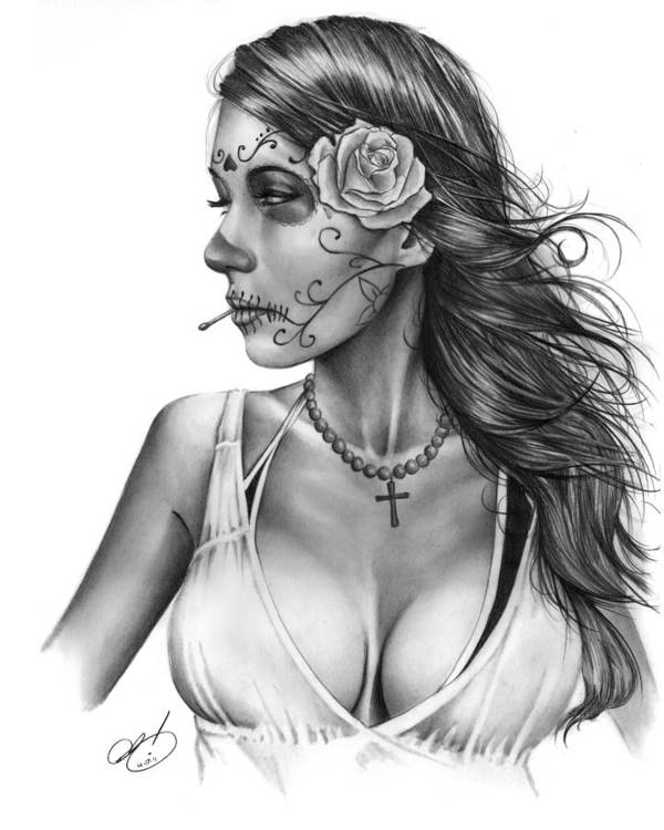 Jennifer Poster featuring the drawing Dia De Los Muertos 1 by Pete Tapang