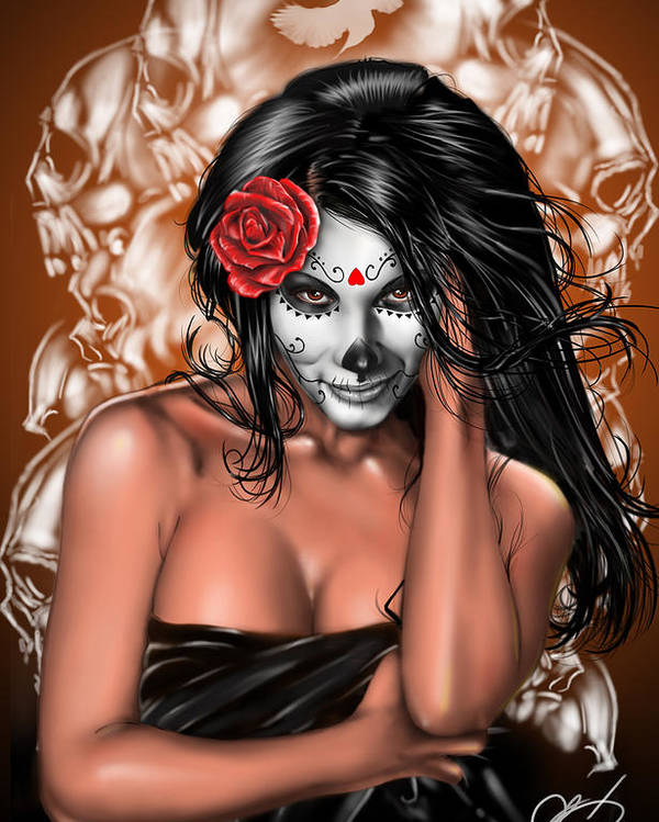 Pete Poster featuring the painting Dia De Los Muertos Remix by Pete Tapang