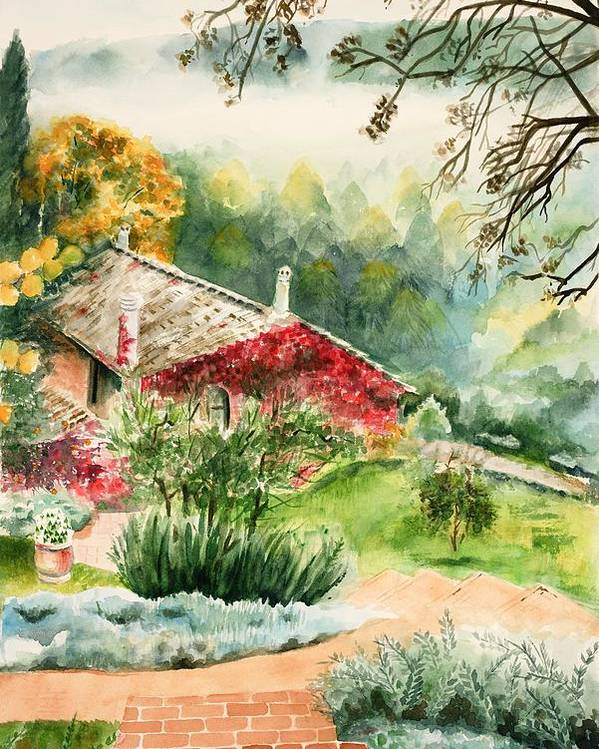 View Of Pathway To Red Cottage And Mountains In Mist Poster featuring the painting Dievole Vineyard In Tuscany by Judy Swerlick