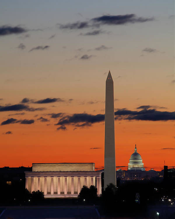 Metro Poster featuring the digital art Digital Liquid - Monuments At Sunrise by Metro DC Photography