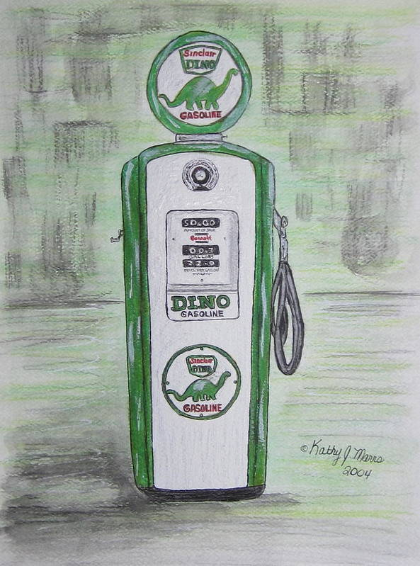 Dino Poster featuring the painting Dino Sinclair Gas Pump by Kathy Marrs Chandler