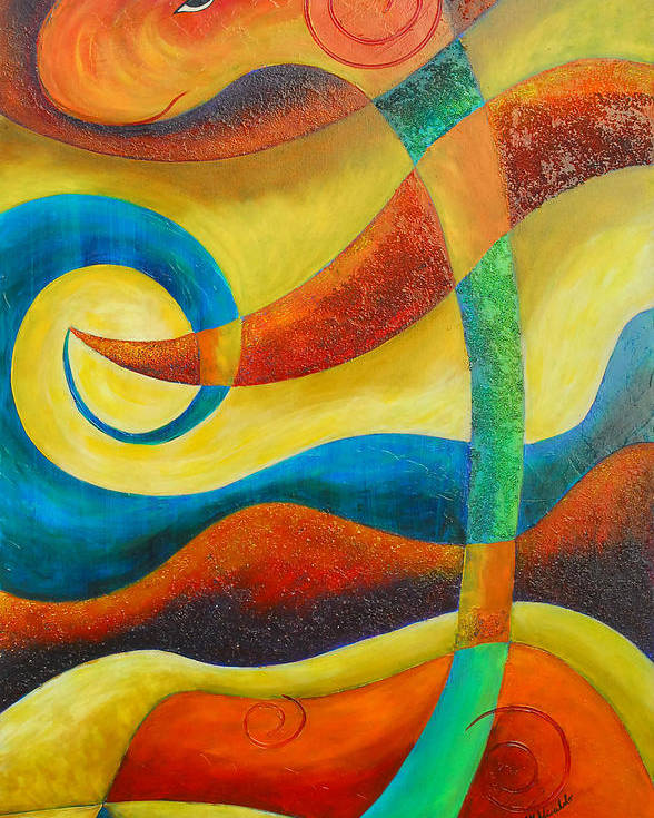 Abstract Expressionism Poster featuring the painting Dinosaur by Marta Giraldo