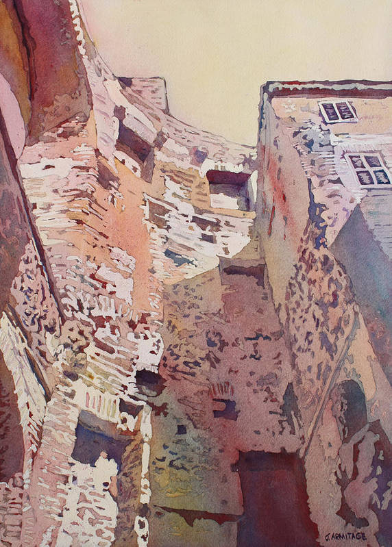 Rome Poster featuring the painting Diocletian Courtyard by Jenny Armitage