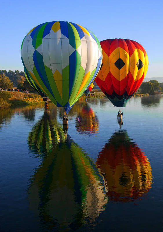 Hot-air Balloon Poster featuring the photograph Dipping The Basket by Mike Dawson
