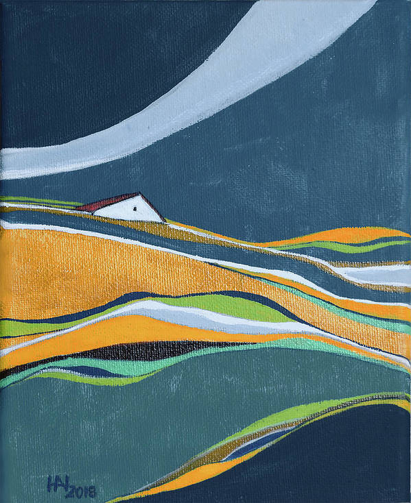 Abstract Poster featuring the painting Distant House by Aniko Hencz