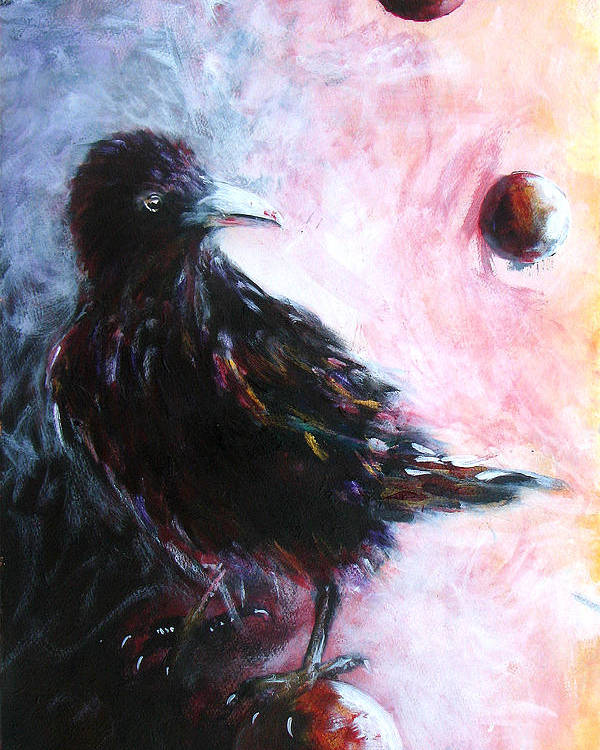 Raven Poster featuring the painting Distinctly I Remember by Sandy Applegate