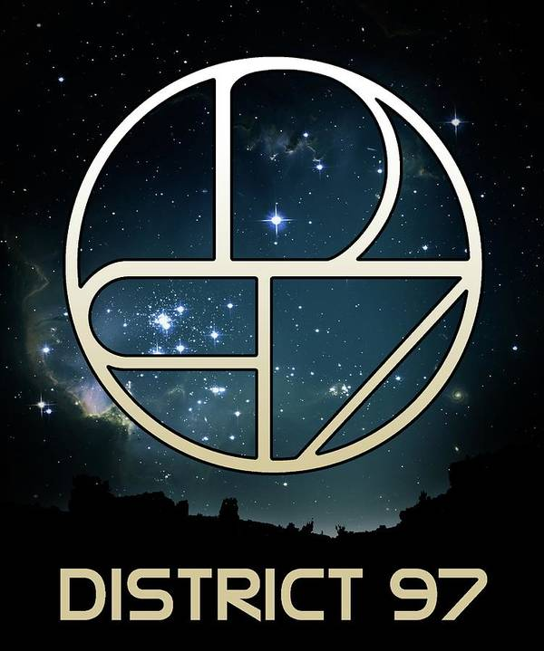 Poster featuring the digital art District 97 Logo by District 97