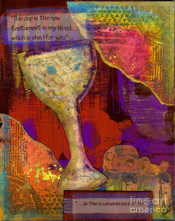 Wood Poster featuring the mixed media Do This In Remembrance by Angela L Walker