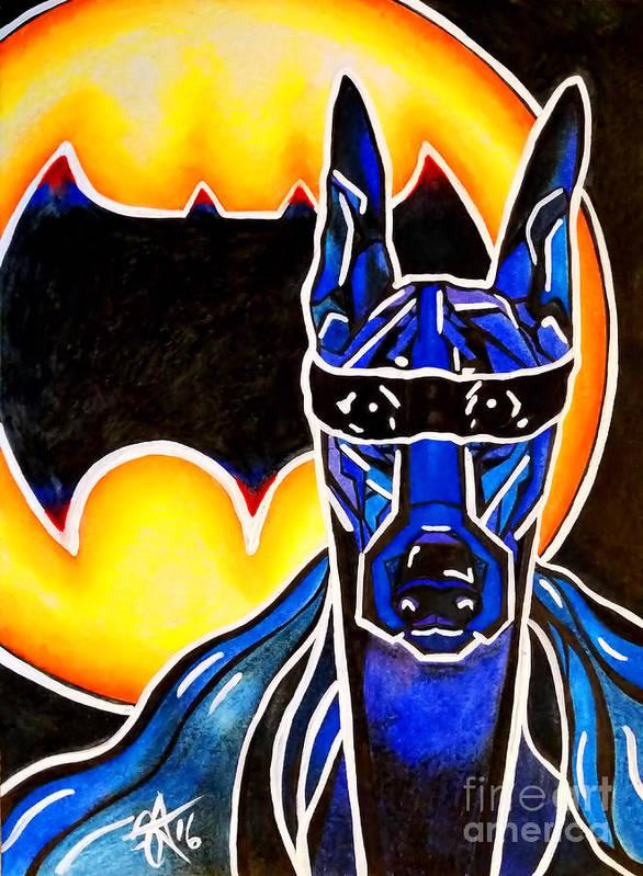 Doberman Poster featuring the painting Dog Superhero Bat by Jackie Carpenter