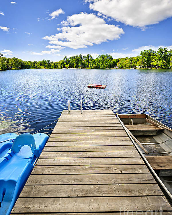 Dock Poster featuring the photograph Dock On Lake In Summer Cottage Country by Elena Elisseeva