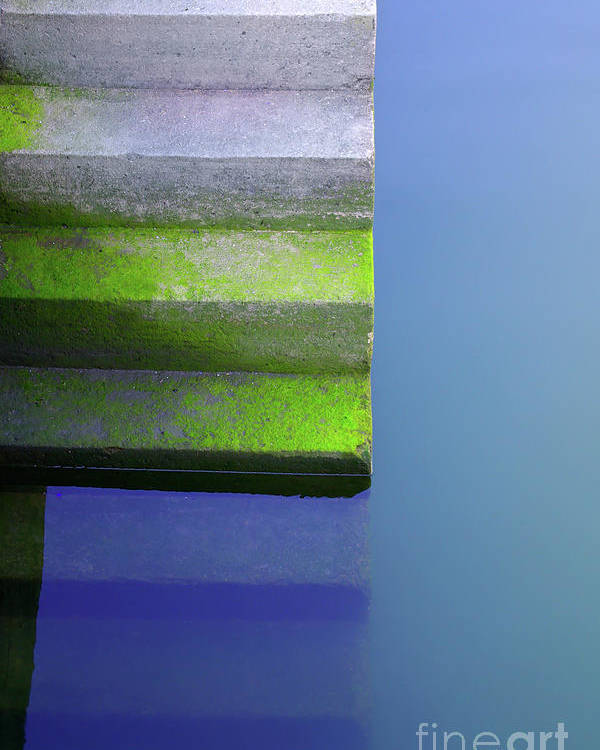 Abstract Poster featuring the photograph Dock Stairs by Carlos Caetano