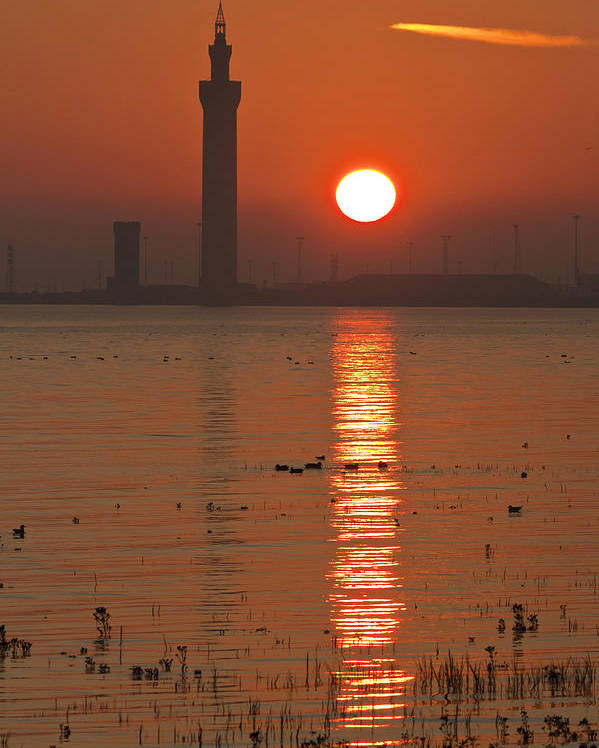 Grimsby Poster featuring the photograph Dock Tower Sunrise by Ray Hydes