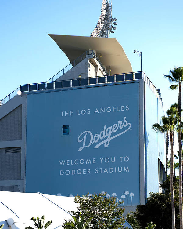 Base Poster featuring the photograph Dodger Stadium by Malania Hammer