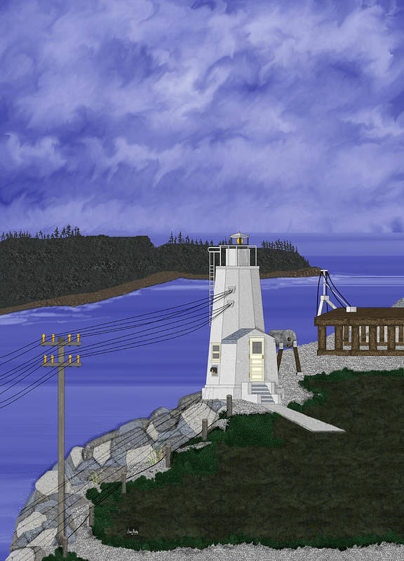 Lighthouse Poster featuring the painting Dofflemeyer Point Lighthouse At Boston Harbor by Anne Norskog