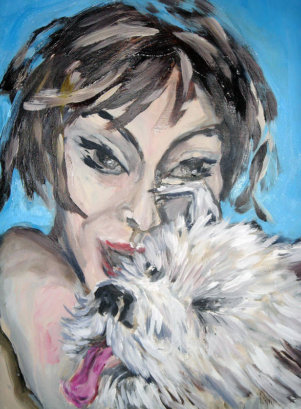 Portrait Poster featuring the painting Dog And Diva by Jenni Walford