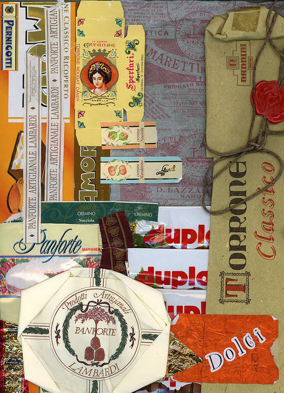 Collage Print Poster featuring the mixed media Dolci by Nancy Ferrier