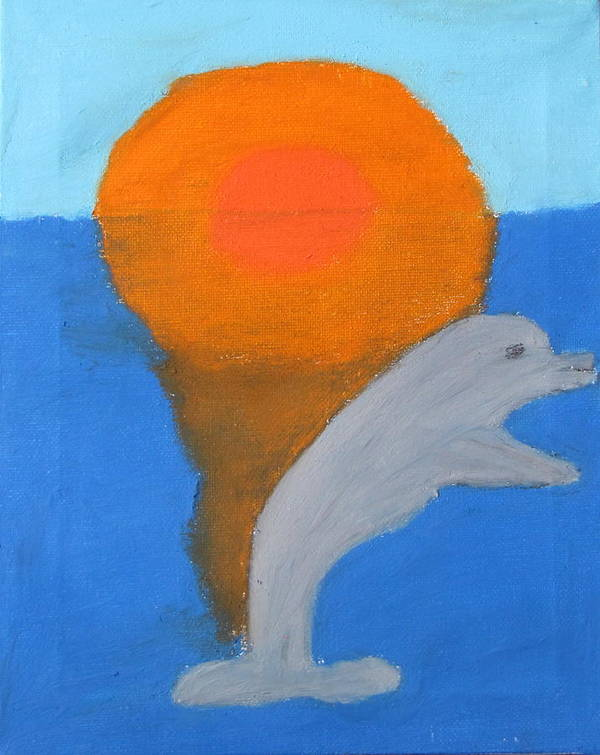Dolphin Poster featuring the pastel Dolphin At Sunset by Melissa Parks