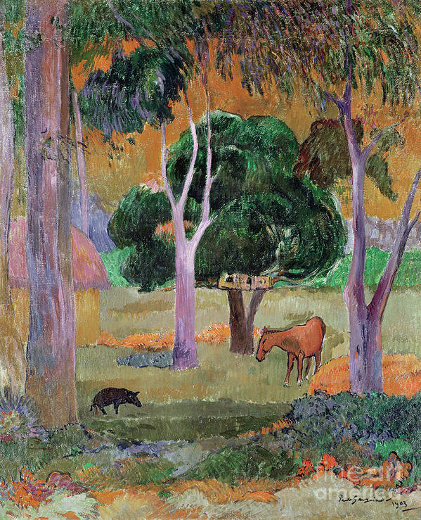 Dominican Landscape Or Poster featuring the painting Dominican Landscape by Paul Gauguin