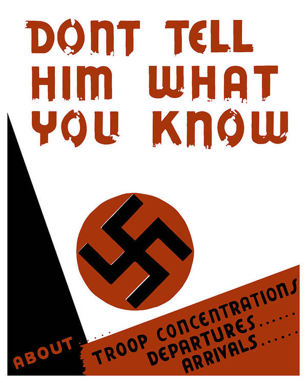 Wpa Poster featuring the mixed media Don't Tell Him What You Know by War Is Hell Store