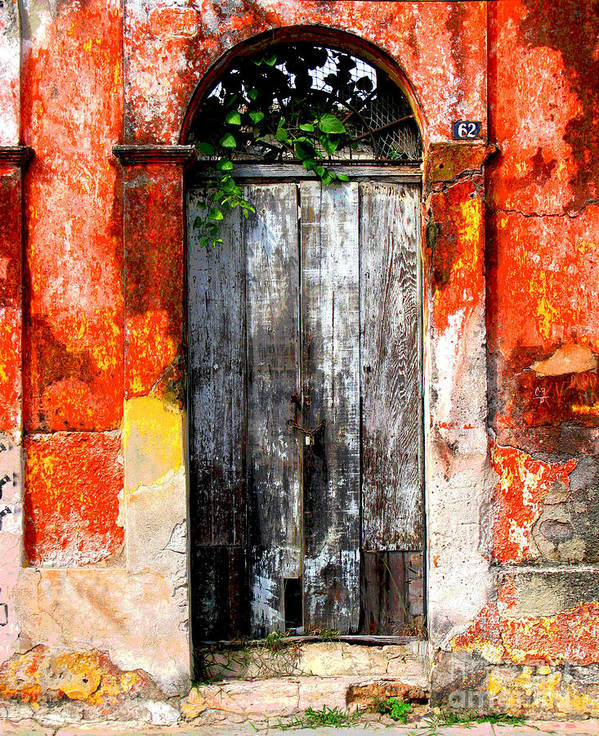 Darian Day Poster featuring the photograph Door At The Red Corner By Darian Day by Mexicolors Art Photography