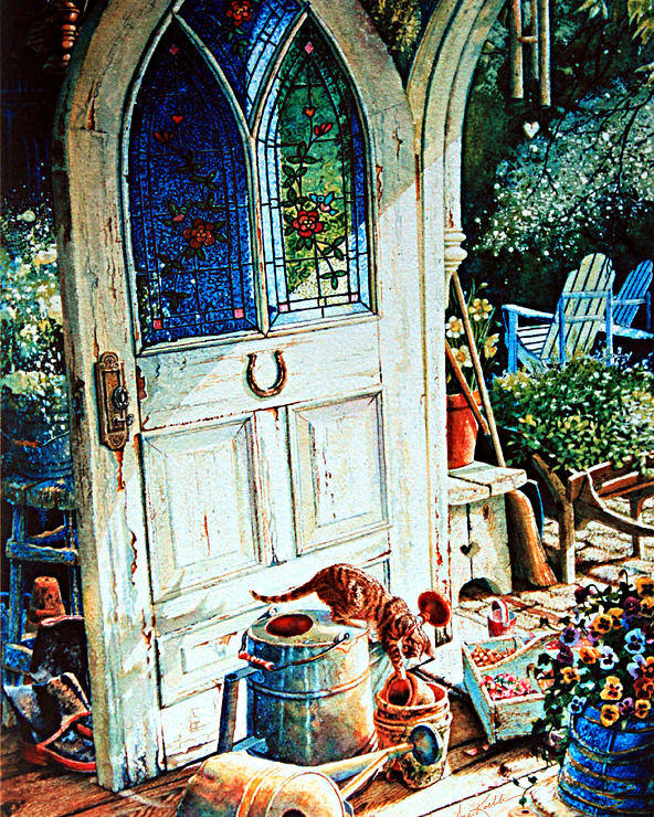 Garden Shed Art Poster featuring the painting Door To My Heart by Hanne Lore Koehler