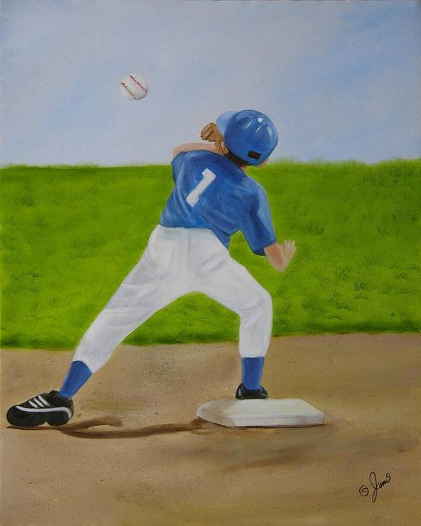 Sports Poster featuring the painting Double Play by Joni McPherson