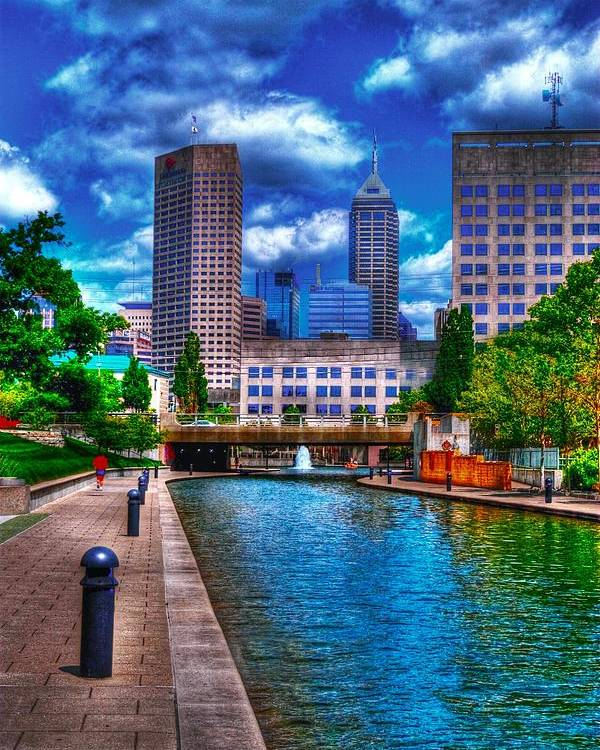 Indianapolis Poster featuring the photograph Downtown Indianapolis Canal by David Haskett