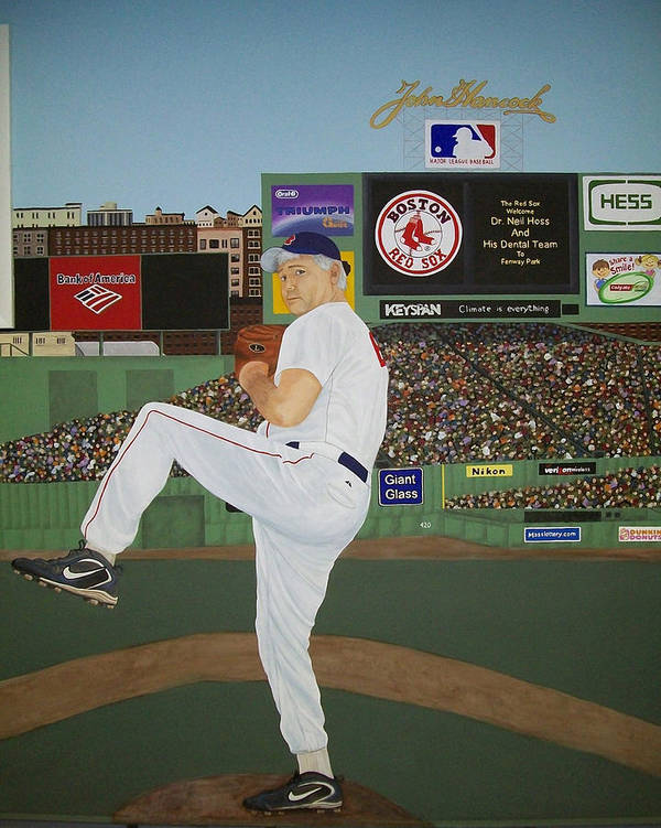 Baseball Poster featuring the painting Dr. Hoss by Sandra Poirier