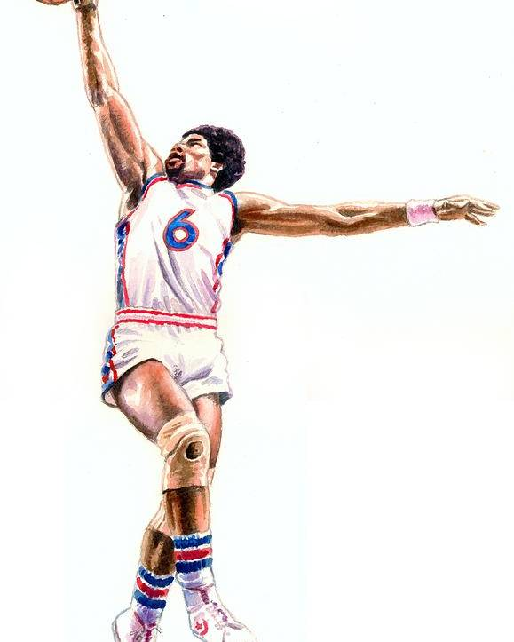 Basketball Poster featuring the painting Dr J by Ken Meyer