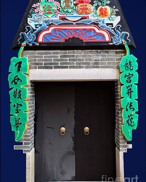 Culture Door Color Blue China Ancient Old Poster featuring the photograph Dragon Girl Door by Ty Lee