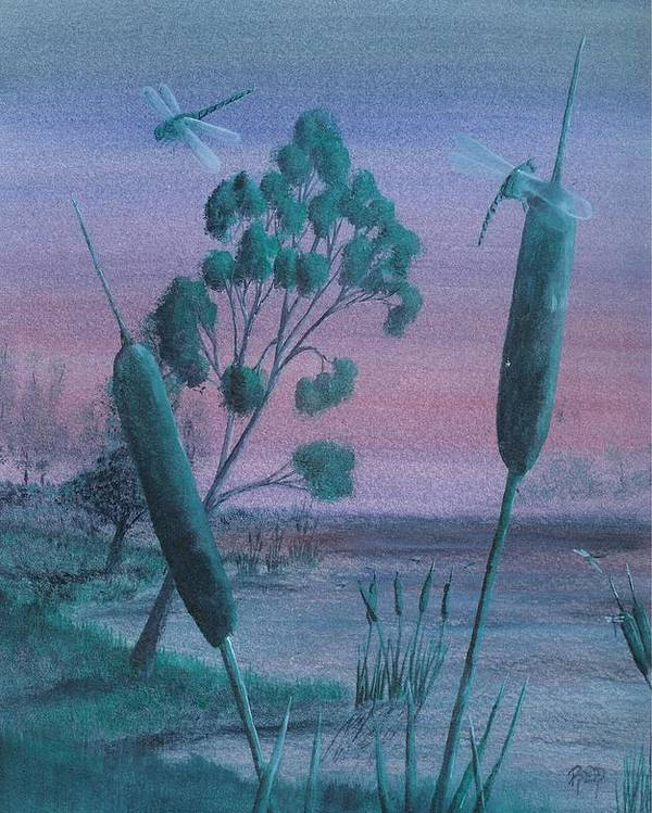 Landscape Poster featuring the painting Dragonflies In The Dusk by Robert Meszaros