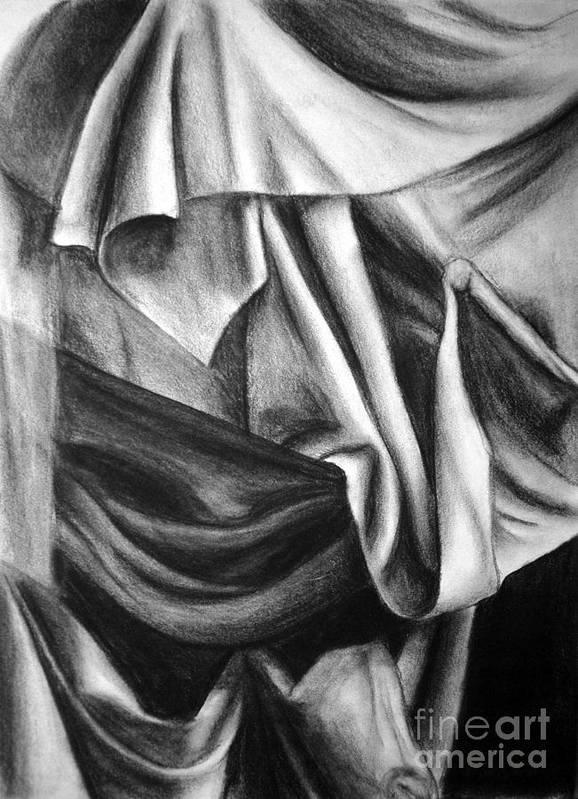 Charcoal Poster featuring the drawing Drapery Still Life by Nancy Mueller