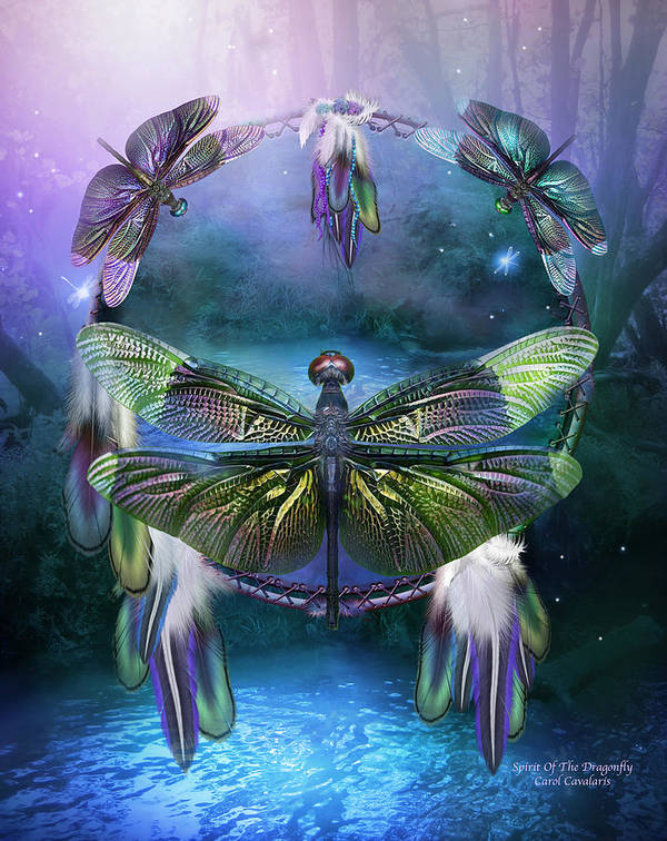 Carol Cavalaris Poster featuring the mixed media Dream Catcher - Spirit Of The Dragonfly by Carol Cavalaris