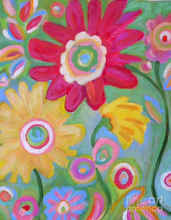 Karen Fields Poster featuring the painting Dream Flowers by Karen Fields