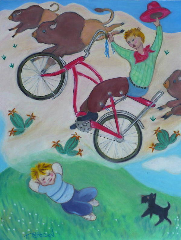 Children Poster featuring the painting Dream Ride by Todd Peterson