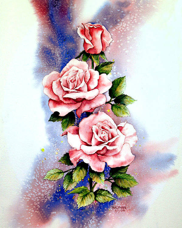 Floral Poster featuring the painting Dream Roses by Brooke Lyman