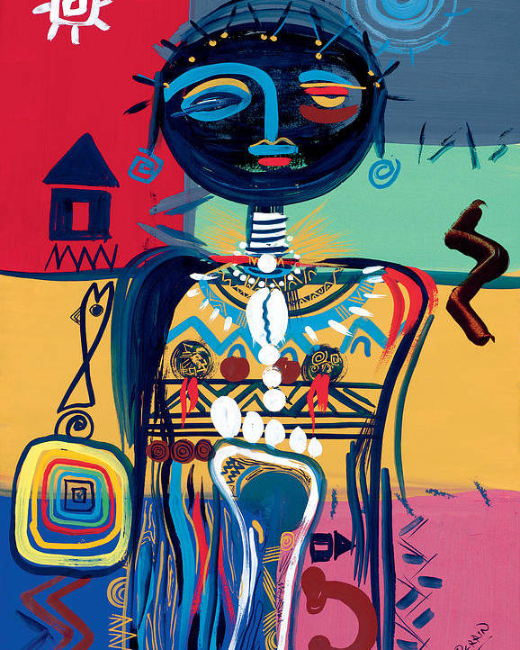 African Poster featuring the painting Dreaming Of Africa by Oglafa Ebitari Perrin