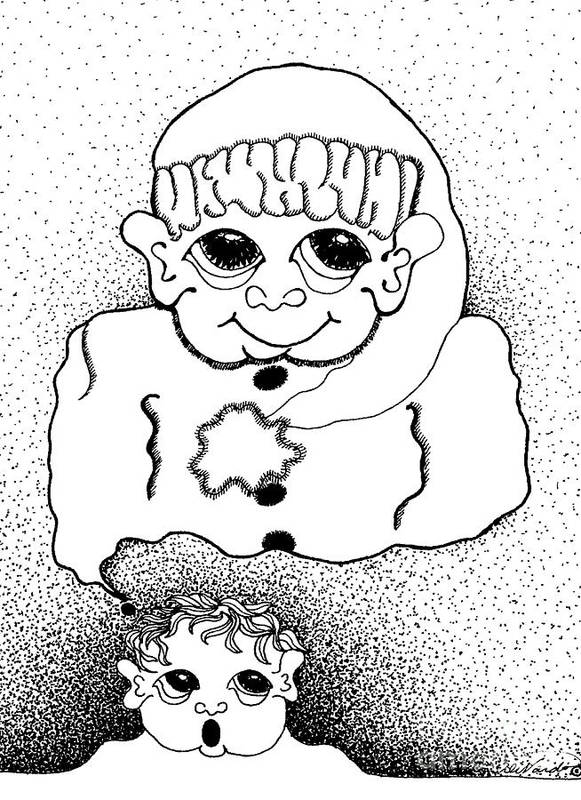 Design Poster featuring the drawing Dreaming Of Santa by Joy Bradley