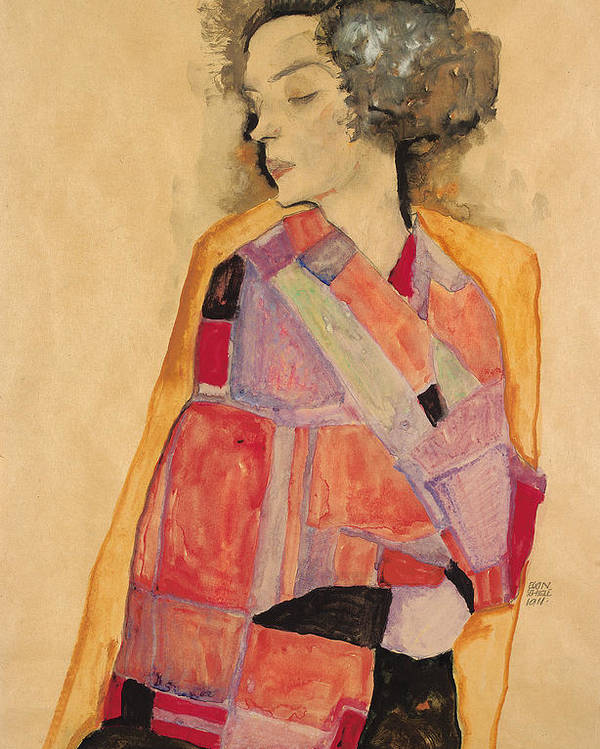 Schiele Poster featuring the painting Dreaming Woman by Egon Schiele