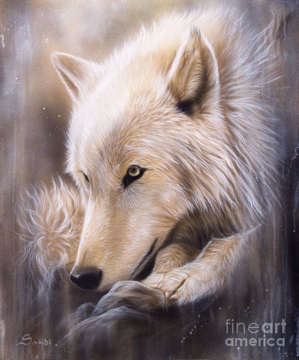 Wildlife Art Poster featuring the painting Dreamscape - Wolf by Sandi Baker