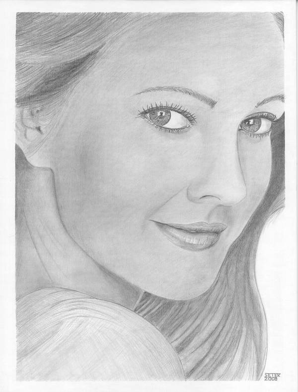 Celebrity Drew Barrymore Poster featuring the drawing Drew Barrymore by David Seter