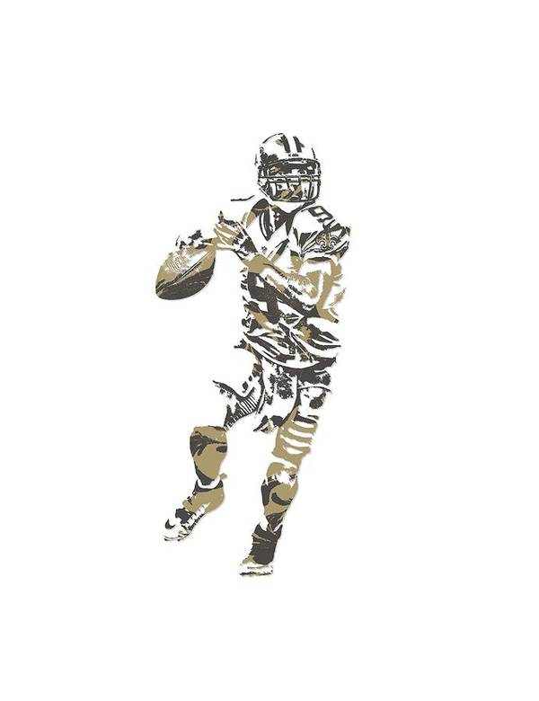 Drew Brees Poster featuring the mixed media Drew Brees New Orleans Saints Pixel Art T Shirt 1 by Joe Hamilton