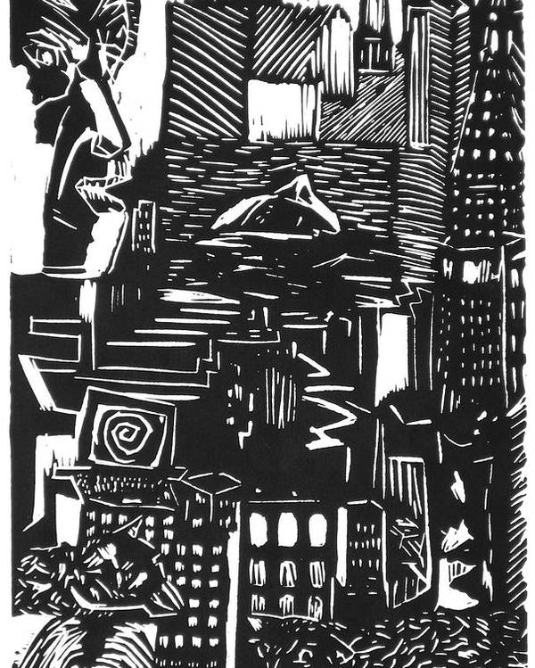 Apocalypse Buildings City Drown Lino Metropolis People Print Sheep Darkestartist Darkest Artist Black Poster featuring the mixed media Drowning In Metropolis by Darkest Artist