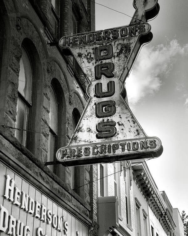 Sign Poster featuring the photograph Drug Store Sign by Steven Ainsworth