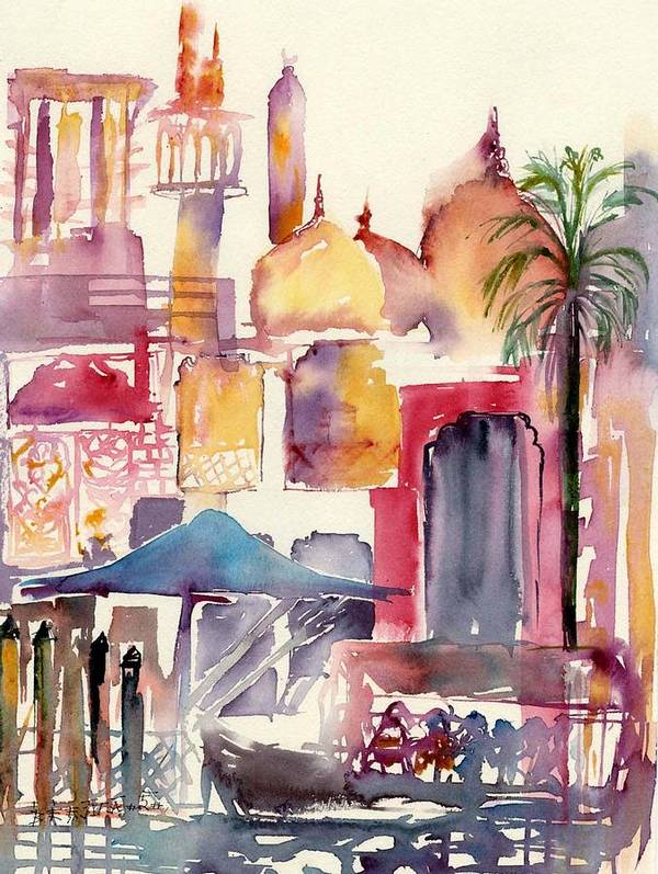 Landscape Poster featuring the painting Dubai Creekside by Beena Samuel